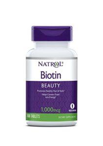 Natrol – Incl Laci Le Beau Teas – 100 Comprimés Biotin 1000 Mcg – Améliore la qualité de vos Cheveux et Ongles Easy – 100% Vegetarien