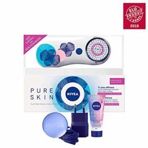 Nivea Pure Skin Brosse Nettoyante Visage Electrique Kit – Edition Limitee Blanc