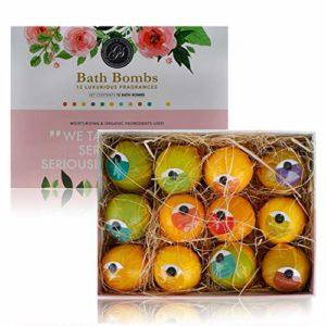 *Nouveau* Bombes de Bain Coffret Cadeau 12 x Boules Effervescentes Bath Bombs Set (120g) – Emballé individuellement – Naturel, biologique et végétalien Huiles essentielles coffret pour le bain, coffret gel douche