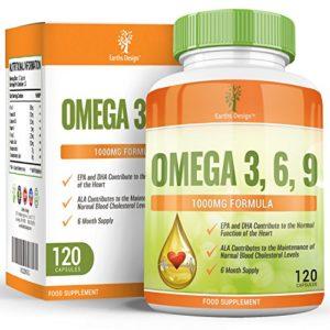 Oméga 3 – 1000mg Huile de Poisson Oméga-3 – Omega 3 Fish Oil – Avec Huile de Lin et Huile de Tournesol – Haute Teneur en EPA DHA pour Hommes et Femmes – 120 Capsules (2 Mois de Stock) de Earths Design