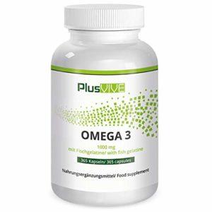 Plusvive – 365gélules d'oméga-3 avec enveloppe en gélatine de poisson, (1000mg)