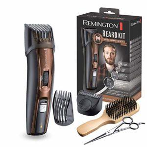 REMINGTON – Tondeuse Barbe Beard Kit MB4045 lames revêtement Titanium auto-affûtée, 9 guides de coupes (0.5 à 18mm) – Brun