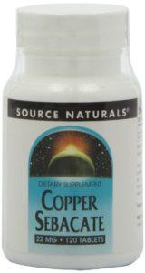Source Naturals – Sébacate de cuivre 22 mg – 120 Comprimés