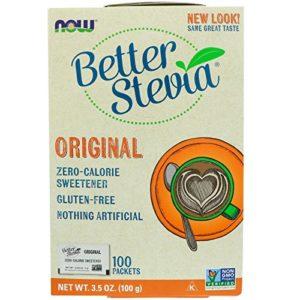 Stevia Extract (sucre naturel) sachet – 1 boite (100 sachets) – Now foods