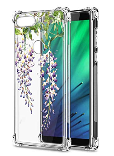 Suhctup Coque Comaptible avec Xiaomi Mi Mix 2S Étui Houssee,Transparent Motif Fleur [Antichoc Protection des Coins] Crystal Souple Silicone TPU Bumper Case Cover pour Mi Mix 2S,A12