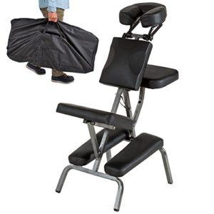TecTake Chaise de Massage avec Sac de Transport – diverses couleurs au choix – (Noir)
