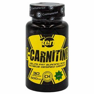 TEN NUTRITION, L-carnitine 30 gélules x 500mg, aide la fonction énergétique, la fonction hépatique, la fonction cérébrale, améliore la performance, la perte de poids, améliore la cognition