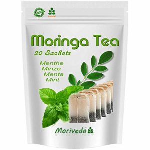Thé Moringa 100% naturel et végétalien (en option mélange à base de plantes, pomme-cannelle, grenade, gingembre, menthe). 1A Quality (20 sachets de thé Moringa-Mint)
