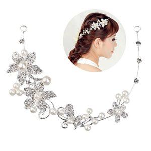 Tinksky Mariée mariée cristal strass fleur délicate de la femme Faux perles bandeau