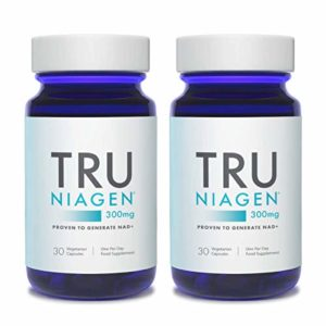 TRU NIAGEN Chlorure de riboside de nicotinamide – Précurseur breveté NAD pour la réduction de la fatigue et de la fatigue, capsules de 300 mg végétariennes, portion, bouteille de 30jours(paquet de 2)