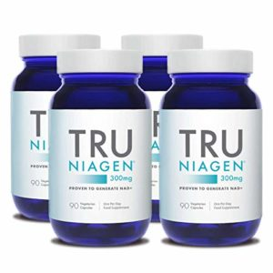 TRU NIAGEN Chlorure de riboside de nicotinamide – Précurseur breveté NAD pour la réduction de la fatigue et de la fatigue, capsules de 300 mg végétariennes,portion, bouteille de 90 jours(paquet de 4)
