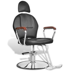 vidaXL Fauteuil de coiffure professionnel en simili cuir noir avec appui-tête