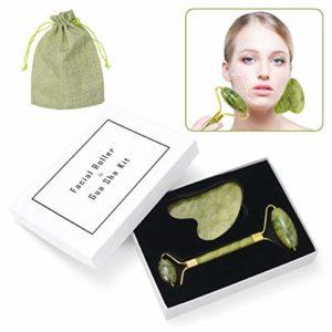 ZITFRI Rouleau de Jade Pierre Massage Jade Roller Visage Gua Sha Massager Jade Facial Rouleau de Peau de Massager Outil de Minceur pour Votre Visage Cou Corps