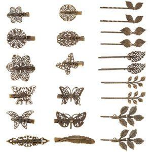 22 Pièces Pinces à Cheveux Vintage Barrettes Bronze Barrettes à Cheveux Feuille Fleur Papillon Coeur Pince à Cheveux pour les Filles et les Femmes, Mélanger de Styles