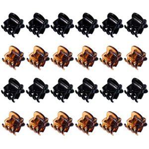 24 Pièces Mini Clips pour Cheveux Petites Pinces à Cheveux en Plastique Griffes à Cheveux pour les Filles et les Femmes (Noir et Marron)
