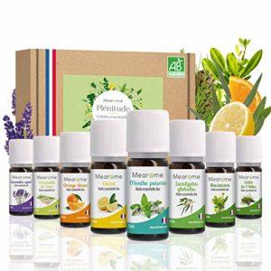 8 x 10 ml Huiles essentielles BIO + guide d'aromathérapie ♦ AB HEBBD – HECT – Qualité et Fabrication FRANCAISE ♦ coffret kit pour aromathérapie & diffuseur