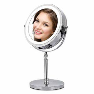 AMZTOLIFE 1x & 10x Miroir grossissant Lumineux – Miroir cosmétique portatif Argent 360 ° réglable