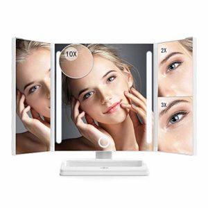 Anjou Miroir Grossissant x10 / x3 / x2 / x1, Miroir Maquillage Triple, Miroir Grossissant Lumineux Rechargeable Éclairé par LED, Miroir LED Pliable 360° Ajustable, Bouton Tactile & Batterie 1000mAh