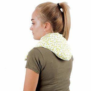 COUSSIN MAXI-CERVICALE MICRO-ONDES ✿ 60×20 cm ✿ Tour de Cou Chauffante Sac Oreiller de graines Thermique Massage Therapie Chaleur Froide ➤ ST10 (Fleurs vertes)