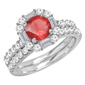 DazzlingRock Collection 14k Or Blanc Rond Rouge Rubin