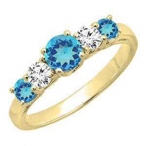 DazzlingRock Collection 14k Or Jaune Rond Bleu Topaze Bleue