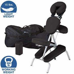 EARTHLITE Vortex Kit portable chaise de massage – Portable, compact, solide et léger (7 kg) incl. étui de rangement portable, coussin et sangle pour le sternum , Noir