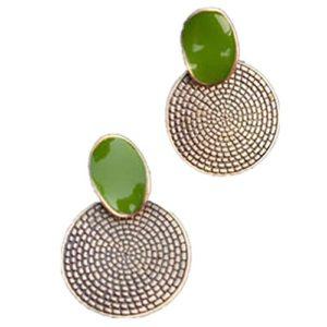 fanmuran Vintage vacances cadeau Big goutte vert Boucles d'oreilles rond sculpté bijoux Femmes