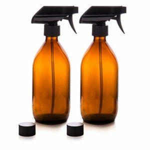 Flacons pulvérisateur – En verre – Ambré – Premium – 500 ml avec gâchette de pulvérisation fine Flacons réutilisables