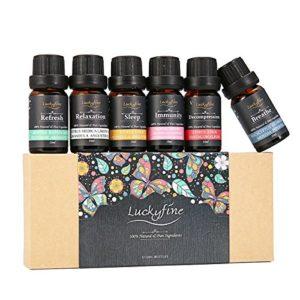 Huiles Essentielles, Luckyfine, Naturelle 100% Pure, 6X10ML Saveurs Différentes, Huiles Parfumées avec 6 Fonctions de Sommeil,Respiration,Relaxation,Rafraîchissement,Immunisation, Décompression