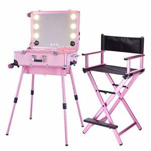 KINYNE Trolley Malette Maquillage avec Miroir LED Plein Écran Et Jambes Réglables + Maquillage Pliant Télescopique Directeur Artistique Chaise Pliante,Pink