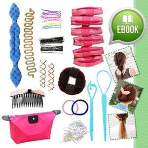 Kit Ultime Outils Accessoires Relooking Coiffure – Coffret Cadeau avec eBOOK en Bonus pour Filles Ados