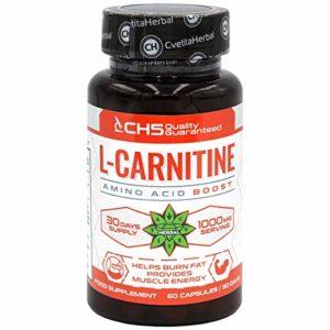 L-Carnitine – 60 capsules x 500mg par capsule | Cvetita Herbal Pure Acide Aminé Dosé | Booster l'énergie, améliorer la performance athlétique et améliorer la cognition | Améliorer la fonction cognitive | Sûr et efficace | Fabriqué dans l'UE