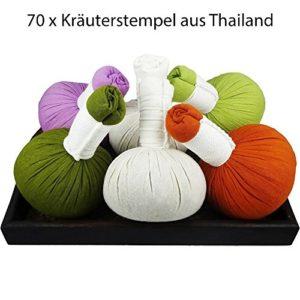 Mix Set–70x tampon Thai Herbes–10stk.: Thai Herbes, Orange, Citronnelle, lavande, citron, thaï Lanna Herbes, thaï Facial Herbs–Corps & Visage 50g de 200g (G)–mythai de massage