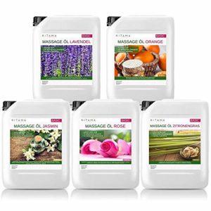 MyThaiMassage Huile de massage Aroma Set 5 x 5000ml – senteurs essentielles Jasmin, Rose, Orange, Lavande, Citronnelle