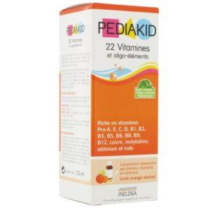 Pediakid – Sirop 22 vitamines/oligo à l'abricot- orange – 125 ml flacon – Croissance équilibrée