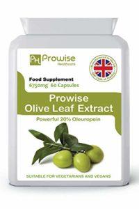 PROWISE OLIVE LEAF EXTRACT 6750mg 60 capsules, fabriqué au Royaume-Uni au code de bonnes pratiques GMP, adapté aux végétariens et aux végétaliens