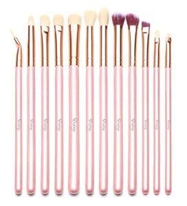 Qivange Brosse à yeux Kit de pinceau de maquillage avec poche (12pcs rose avec rose)