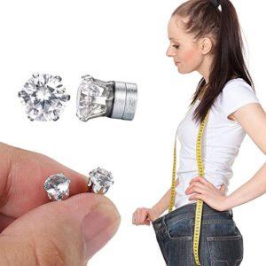 SHOP STORY – Boucles d'Oreilles Diamant – Bio Aimant Minceur – Diminuent la Fatigue le Stress et Favorise la Perte de Poids Naturelle