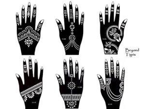 Tattoo Lot de 6 pochoirs Kit Henna Designs Usage Unique pour les mains Tigris 6