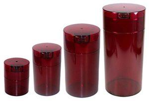 Tightvac Imbriquées Lot de 4boîtes de rangement Emballé sous vide marchandises sèches, 4tailles différentes: 680,4gram, 340,2gram, 170,1gram, 85gram, Rosetinted Corps/bouchon