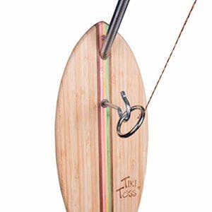 Tiki Toss Crochet et Ring Toss Deluxe Set 100% bambou avec mât télescopique de 5pi et toutes les pièces incluses