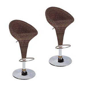 XUEPING 360 Degrés Rotation Bar Chaise Américain Bar Tabouret Rotin Tissé Bol Type Conception Moderne Ktv Haute Chaise Quatre Saisons/Double Compteur Chaise (Taille : Two Loaded)