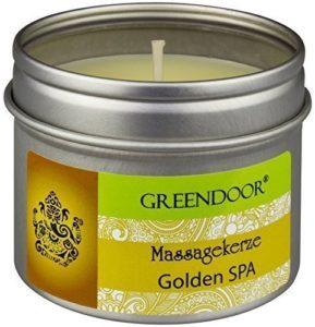 100% BIO & VÉGÉTALIEN – Greendoor – Bougie de massage GOLDEN SPA à la cire de soja et à l'huile végétale de babassu – bien sûr NON-TESTÉ SUR ANIMAUX – pot de 100 ml
