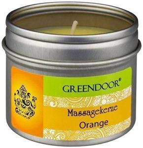100% BIO & VÉGÉTALIEN – Greendoor – Bougie de massage ORANGE à la cire de soja et aux huile végétale de babassu et d'orange pure – bien sûr non-testé sur animaux – pot de 100 ml