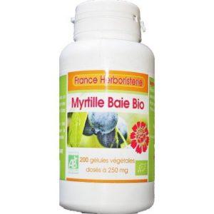 200 gélules MYRTILLE baie BIO AB dosées à 250 mg.