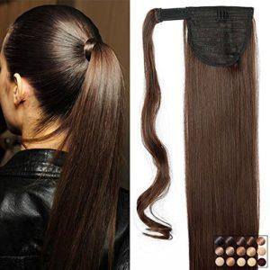 23″ Queue de Cheval Postiche Extension de Cheveux Lisse – Wrap Around Ponytail Clip in Hair Extensions – Marron (58cm-120g)