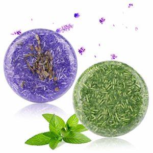 2PCS Barre de Shampooing, Phogary Savon pour cheveux (lavande + menthe) Divers Fragrances Plant Essence Shampoo naturel pour cheveux gras et abîmés – Aide à lutter contre les pellicules