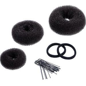 3 Pièces Donut Bun Maker Coiffure Chignon Bague Chignon Set pour les Cheveux Chignon Large, Medium et Small(Marron)