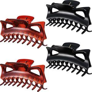 4 Pièces 11 cm Grand Clips de Pinces à Cheveux en Plastique Femme Pinces à Griffes Épaisses 4,33 Pouces (4,33 pouces noir et brun)