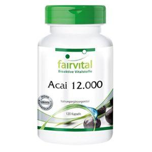 Acai 12 000-1 mois – végan – dosage élevé – 120 gélules – 15: 1 Extrait Acai